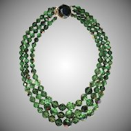 "Vintage Green Faceted AB Crystal Beaded 3 Strands Necklace ""Gorgeous"" July Big SALE !"
