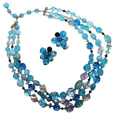 Vintage 1960's Signed CARNEGIE Blue Triple Strand Glass Beaded Necklace and Earring Set