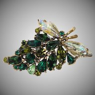 "Vintage "" Molded Art Glass & Green Rhinestone Floral Brooch"