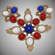 "Vintage 1970's Signed ""SARAH COVENTRY"" ""AMERICANA"" Delizza & Elster Brooch & Earring Set"
