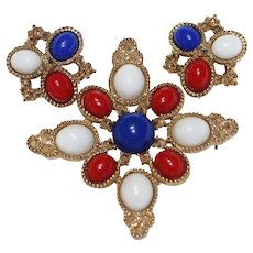 """Vintage 1970's Signed """"SARAH COVENTRY"""" """"AMERICANA"""" Delizza & Elster Brooch & Earring Set"""