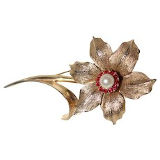 "Vintage Signed ""BOUCHER"" 1960's ~Flower Of The Month~December ""NARCISSUS"" Flower Brooch"
