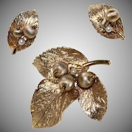 "Vintage~Signed ""CAPRI"" 1970's Goldtone Leaf w/Berries Brooch & Earrings Set"