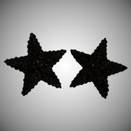 Vintage~1980's Richard Kerr Black Rhinestone STAR Clip-On Earrings