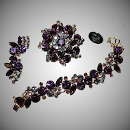 "Vintage ""JULIANA"" by D & E Amethyst & AB Rhinestone Grand-Parure  Set (SALE!)"