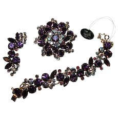 "Vintage ""JULIANA"" by D & E Amethyst & AB Rhinestone Grand-Parure  Set"