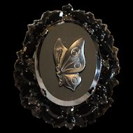 "Vintage ""JULIANA"" by D & E Hematite Rhinestone Cameo ""BUTTERFLY"" Brooch (Book Piece)"