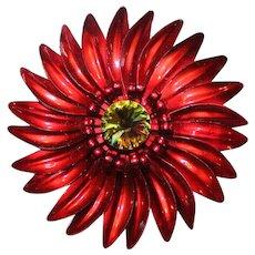 """Vintage~1970's Large Red Enamel """"DAISY"""" Flower  w/ Watermelon Heliotrope Rivoli Center Brooch"""