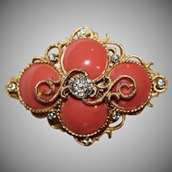 "Vintage Signed Hattie Carnegie Coral Cabochon Rhinestone Gold tone Brooch ""RARE FIND"""