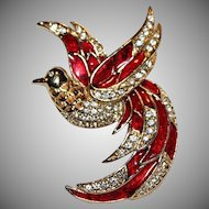 "Vintage 1980's Signed ""GIORGIO"" Bird of Paradise Brooch/Pin"
