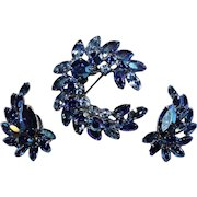Vintage 1960's SHERMAN Peacock Blue and AB Rhinestone Crescent Brooch and Earrings