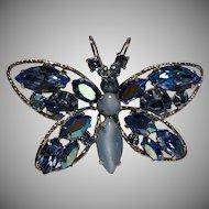 """Vintage Signed """" Regency Jewels """" Blue Rhinestone Butterfly Brooch"""