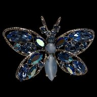"Vintage Signed "" Regency Jewels "" Blue Rhinestone Butterfly Brooch"