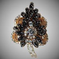 "Vintage ""Juliana"" D&E Hematite Rhinestone & Filigree Ball Leaf Brooch ( Book Piece)"