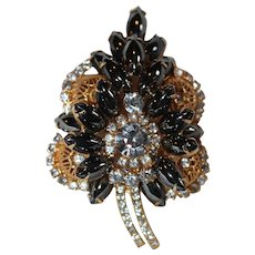 "Vintage ""Juliana"" D&E Hematite Rhinestone & Filigree Ball Leaf Brooch ( Book Piece)"