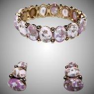 Vintage Signed HAR Pink / Lavender Dinosaur Egg Rhinestone Bracelet & Earring Set
