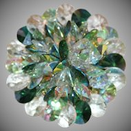 "Vintage Signed ""VENDOME"" Green & Clear Rivoli Crystals Brooch"