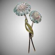 Vintage~~BSK~~ Signed  Enamel & Rhinestone Long Stemmed Flower Brooch