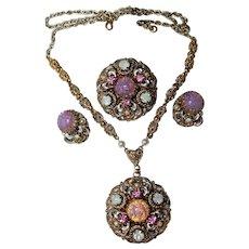 "Vintage~West Germany "" Royalty "" Foil Glass, Pink Moon Rhinestone Necklace, Brooch, Earrings Set"