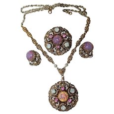 "Vintage~West Germany "" Royalty "" Foil Glass, Pink Moon Rhinestone Necklace, Brooch, Earrings Set"