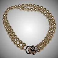Vintage~Kenneth J. Lane Faux Pearl w/ Doorknocker Necklace
