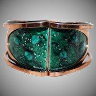 Vintage~Matisse & Renoir ~ RARE~ Copper & Teal Enamel Clamper Bracelet