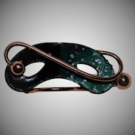 Vintage~Matisse Signed Copper & Enamel Theatrical Mask Brooch