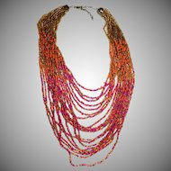 "Vintage 20 Strand Multi-Color Glass Seed Bead ""Bib"" Necklace"