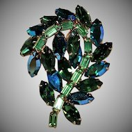 "Vintage 1960's Signed  Hollycraft Multi Green Rhinestone Leaf Shape Brooch ""MINTY""!"
