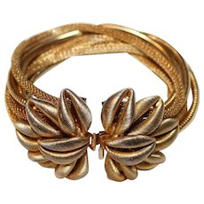 Vintage RARE Gold-Tone Textured 3D Flower & Multi-Chain Closure Bracelet