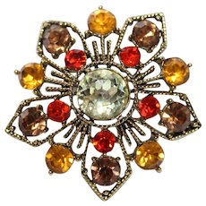 Vintage 1970's Signed WEISS ~Browns,Orange & Gold Rhinestone Flower Brooch