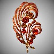 "Vintage 1960's Signed M.Dent Orange Enamel & Rhinestone ""Feather Style"" Brooch"