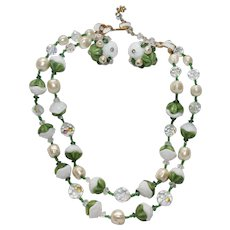 "Vintage Signed ""VENDOME"" White,Green Molded Glass,Crystals,Faux Baroque Pearl Necklace & Earring set"