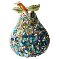 "Vintage 1960's  Rhinestone and Enamel ""Pear Shape"" Brooch/Pin"
