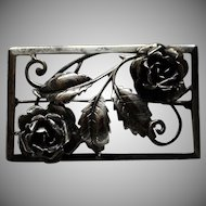 Vintage~Bauring Signed Large Sterling Silver Rose Brooch