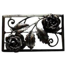 Vintage~Bauring Signed Large Sterling Silver Rose Brooch