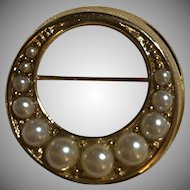 Vintage Signed Trifari Wreath Shape Faux Pearl Brooch