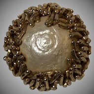 Vintage 1950's Signed SCHRAGER Baroque Glass Pearl Brooch