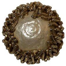 Vintage 1950's Signed SCHRAGER Baroque Glass Pearl Brooch