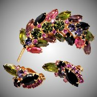 "Vintage~1960's Juliana by ""Delizza and Elster"" Springtime Stunning Rhinestone Brooch & Earrings Set"
