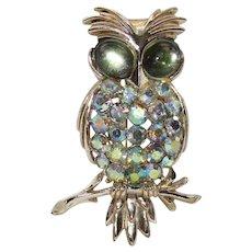 "Vintage~Signed 1950's Pegasus""CORO"" AB Rhinestone OWL Brooch"
