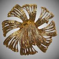 Vintage Premier Design Gold-tone Floral Brooch