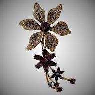 Vintage Purple Heliotrope and AB Rhinestone Exquisite Flower Brooch