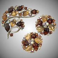 Vintage~LISNER Brown Molded Thermoset Leaves and  Aurora Borealis Rhinestones  Brooch & Earrings