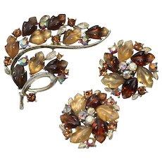 Vintage~LISNER Brown Molded Thermoset Leaves and  Aurora Borealis Rhinestones  Brooch & Earrings