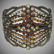 "Vintage  Wide, Brown and AB Rhinestone Clamper Bracelet ""Beauty"""