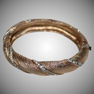 Vintage Beauty Textured Gold Tone and Clear Rhinestone Hinged Bangle Bracelet