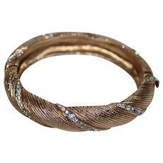 Vintage Beauty Textured Gold Tone and Clear Rhinestone Hinged Bangle Bracelet