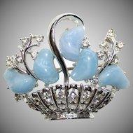Vintage Signed Coro Blue Thermoset /Rhinestone Flower Basket Brooch