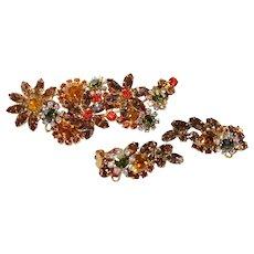 """Vintage """"Juliana"""" Orange,Brown Rhinestone Floral Brooch &  Earring Set  """" RARE"""""""